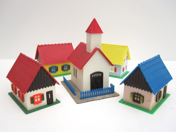German Miniature Village in a Bag in Original Box, Vintage with Church, Houses -- Home Decor