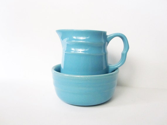 Oxford Stoneware Pitcher and Bowl, Aqua Blue, Vintage -- Set of 2