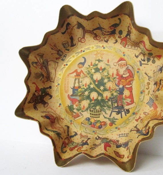 Vintage Christmas Decor Cardboard Candy Bowl, West Germany Container with Santa and Elves