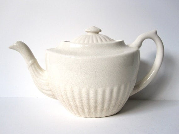 Cream Colored Teapot from England, Vintage Home or Kitchen Decor