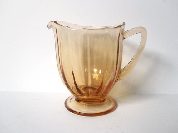 Amber Depression Glass Creamer, Vintage