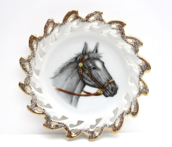 Vintage Horse Plate with Gold Scalloped Edge