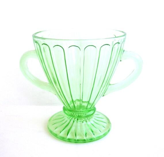 Green Depression Glass Sugar Bowl, Vintage Kitchen Decor