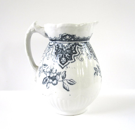 Blue Transferware Pitcher, Vintage from England with Scalloping