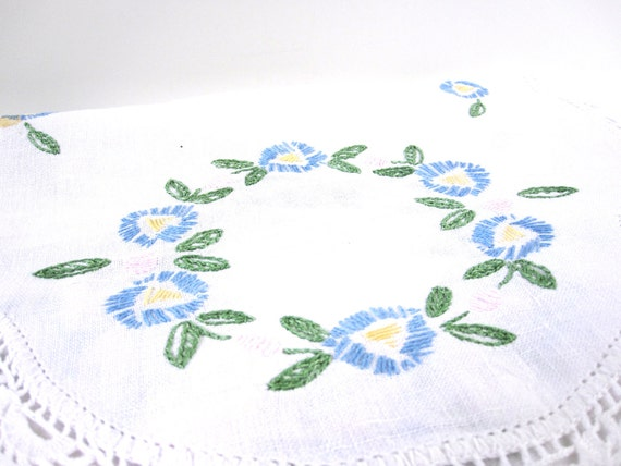 Blue Flower Dresser Scarf