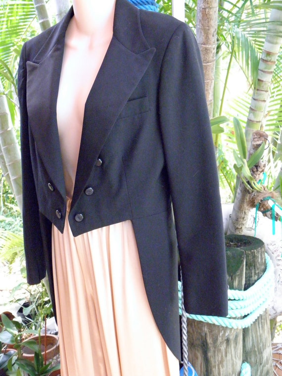 A Fun Women's Vintage Tuxedo Jacket with Tails