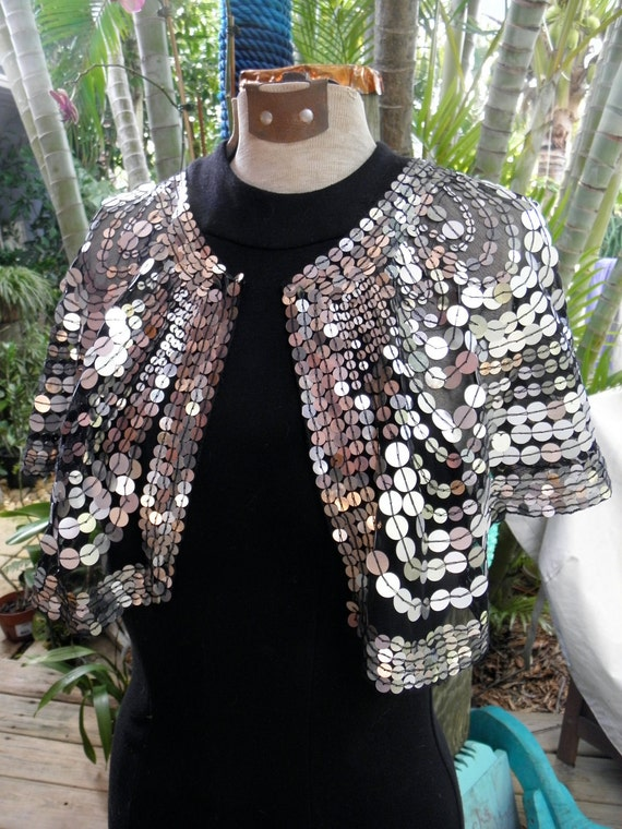 RESERVED for the Bride,Gorgeous Alberto Makali 80's Siver Sequin Capelet, Shawl, Cruise wear, Showgirl, Prom, Wedding