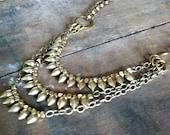 CHIC SPIKE NECKLACE- 3 Tier Layered Spikes. Solid Brass. Slightly oxidized chain. Antique finish. Avant Garde. Punk.