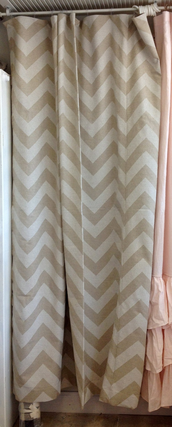 74x90 Khaki and /White Chevron Shower Curtain by ldlinens on Etsy