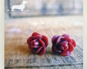 CLEARANCE! Red Wine. Rosebud Post Earrings -- (Red, Feminine, Roses, Small Flower Studs, Romantic, Simple, Bridesmaid Jewelry, Gift Under 5)
