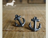 I Love You a Yacht. Anchor Post Earrings -- (Nautical, Silver, Simple, Classic, Ocean, Navy, Beach, For Her, For Him, Unisex, Gift Under 10)