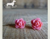 CLEARANCE! Pretty in Pink. Rosebud Post Earrings -- (Vintage-Style, Flower Posts, Pink Roses, Bridesmaid Jewelry, Birthday Gift Under 5)
