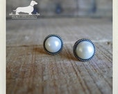 Classic Pearl. Post Earrings -- (Vintage Style, Ivory, Rustic, For The Bride, Wedding, Bridesmaid Gift, Classic, Wedding, Gift Under 10)