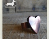 CLEARANCE! Vintage Love. Adjustable Heart Ring -- (Heart Jewelry, Brown, Rustic, Simple, Vintage-Style, Romantic, Bridesmaid Gift Under 5)