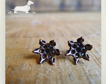 CLEARANCE! Brown Flower. Post Earrings -- (Small, Simple, Rustic Chic, Boho Chic, Autumn, Metal, Vintage-Style, Bridesmaid Gift Under 5)