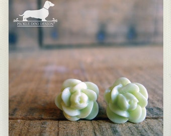 CLEARANCE! Hint of Lime. Rosebud Post Earrings -- (Vintage-Style, Rose Studs, Tiny Flower Earrings, Romantic, Green, Birthday Gift Under 5)