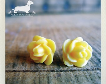 CLEARANCE! Buttercup. Rosebud Post Earrings -- (Vintage-Style, Yellow, Flower Earrings, Sunshine, Golden, Bridesmaid Jewelry, Gift Under 5)
