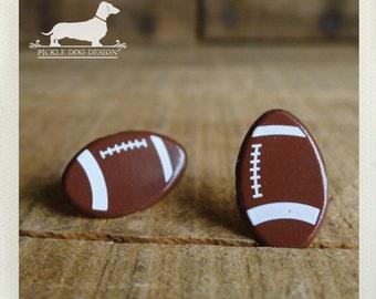 CLEARANCE! Football Fan. Post Earrings -- (NFL, Football Earrings, Homecoming, Cheerleader, Friday Night, Sports, Brown, Superbowl, Under 5)