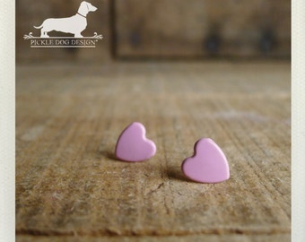 CLEARANCE! I Heart You. Pink Heart Post Earrings -- (Cute, Small Heart Studs, Blush, Shabby Chic, Bridesmaid Jewelry, Love, Gift Under 5)