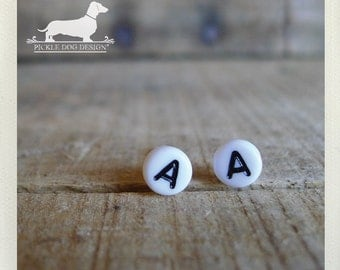 CLEARANCE! Lobe Letters. Personalized Post Earrings -- (White, Typography, Initials, Letters, Vintage-Style, Cute, Birthday Gift Under 5)