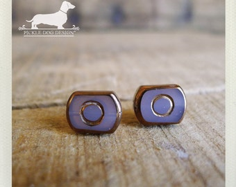Round Rectangle. Post Earrings -- (Purple, Lavender, Glass, Gold, Studs, Small, Romantic, Shabby Chic, Bridesmaid Gift For Her Under 10)