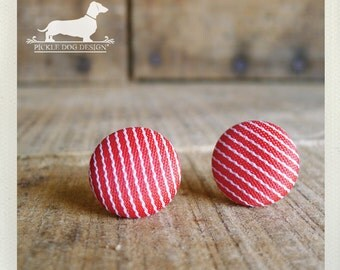 CLEARANCE! Candy Stripe. Post Earrings -- (Red, Round, Button, Vintage-Style, Striped Studs, Gift Under 5, Nautical, Modern, Preppy Chic)