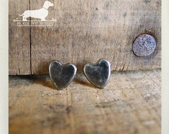 I Heart You. Rustic Silver Heart Post Earrings -- (Love, Antiqued Silver, Small, Simple, Vintage Style, Gray, Cute Bridesmaid Gift Under 10)