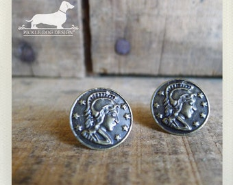 CLEARANCE! Coin Toss. Post Earrings -- (Antiqued Metal, Small, Simple, Cute, Rustic, Vintage Style, Unisex Jewelry, Birthday Gift Under 5)