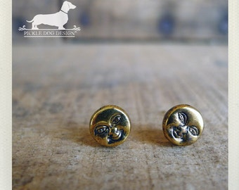 You Are My Sunshine. Post Earrings -- (Sun, Gold, Studs, Small, Simple, Fun, Vintage Style, Emoji, Face, Unisex, Birthday Gift Under 10)