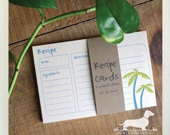 Palm Tree Pair. A Baker's Dozen (Qty 13) Set of Recipe Cards -- (3x5, 4x6, Summer, Island, Beach, Blue, Bridal Shower Favor, Wedding Gift)