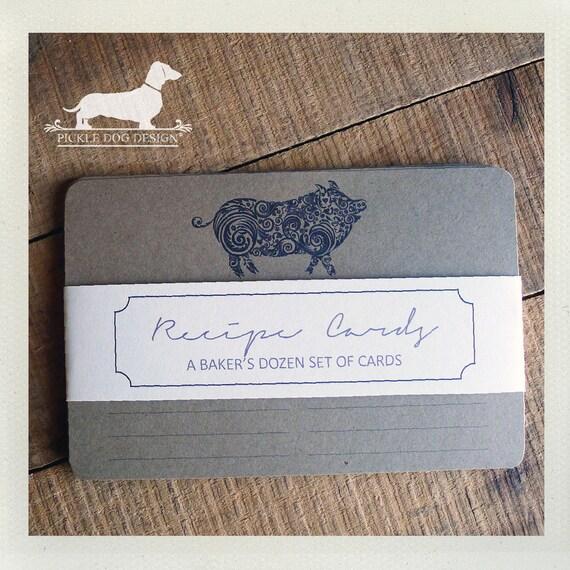 This 'Lil Piggy. A Baker's Dozen (Qty 13) Set of Recipe Cards -- (3x5, 4x6, Rustic, Pig, Farmhouse Chic, Bacon, Vintage-Style, Under 15)