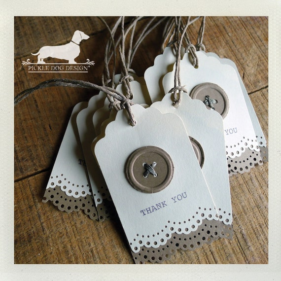 CLEARANCE! All Buttoned Up. Thank You Gift Tags (Qty 12) -- (Vintage-Style, Bridal Shower, Rustic Wedding, Baby Shower, Thank You, Buttons)