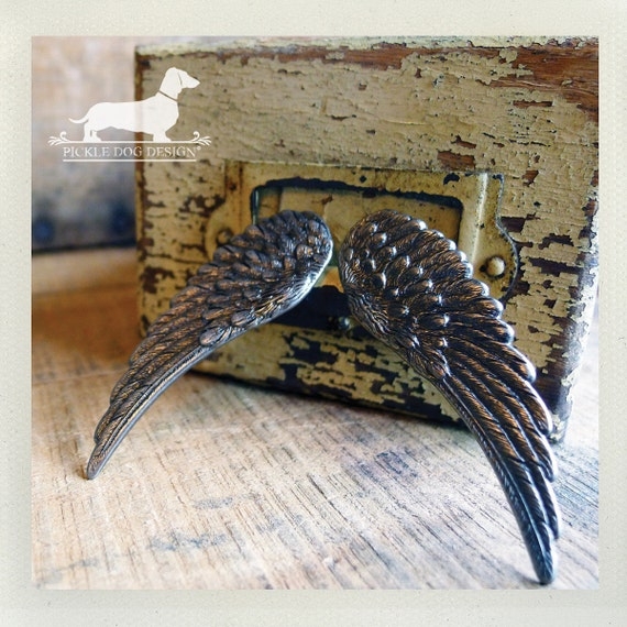 CLEARANCE! Angel Wing. Post Earrings -- (Silver, Feather, Harley Davidson, Rustic, Gray, Gift Under 5, Bird Wings, Hunger Games, Gunmetal)