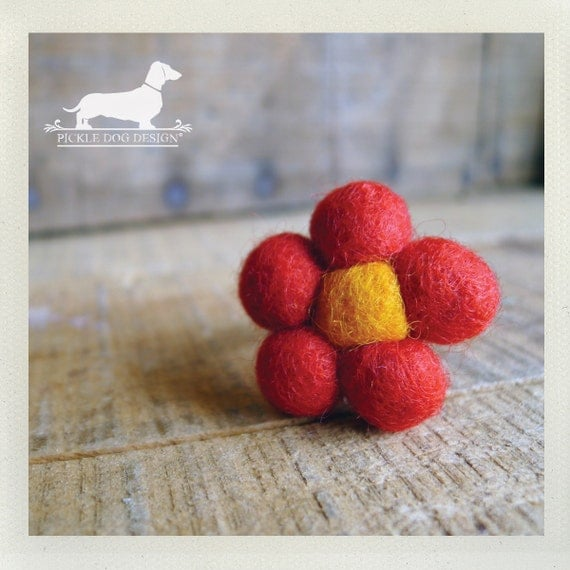 CLEARANCE! Red Petals. Adjustable Felt Flower Ring -- (Flower, Felt, Red, Fun, Flirty, Gift for Her Under 5, Spring Fashion, Spring, Summer)