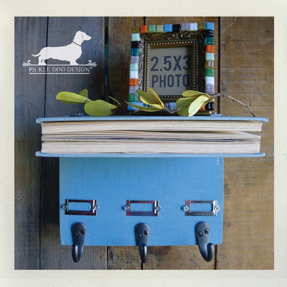 Book Shelf Wall Organizer. (No. 2) -- (Blue, Vintage-Style, OOAK, Wall Decor, Key Hook, Entryway Organizer, Jewelry Holder)