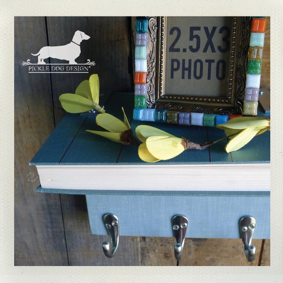 Book Shelf Wall Organizer. (No. 3) -- (Blue, Vintage-Style, OOAK, Wall Decor, Key Hook, Entryway Organizer, Jewelry Holder)