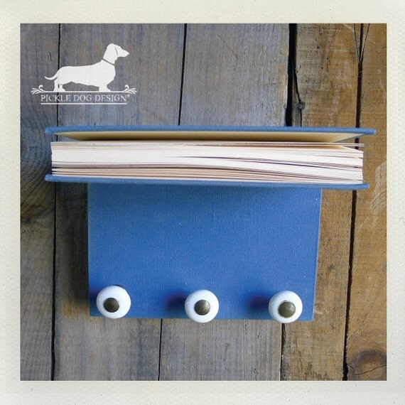 CLEARANCE! FREE SHIPPING! Book Shelf Wall Organizer -- (Vintage-Style, Blue Books, Rustic Chic, Unique Decor, Cute Jewelry Holder, Upcycled)