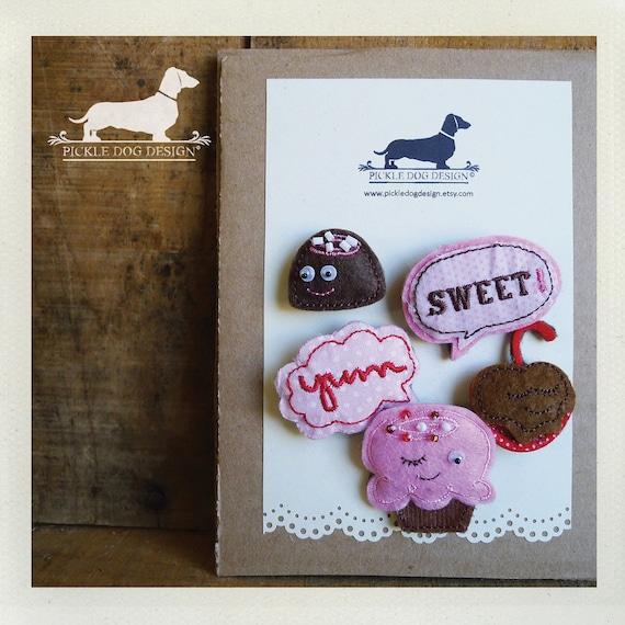 Box of Chocolates. Cork Board Pins (Set of 5) -- (Pushpins, Felt, Cupcake, Pink, Brown, Cute, Gift Under 10)