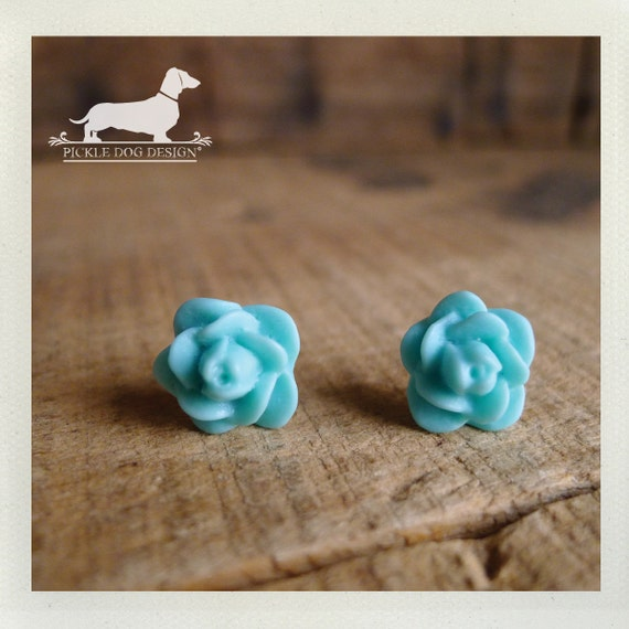 CLEARANCE! Minty Turquoise. Rosebud Post Earrings -- (Flower Studs, Mint, Blue, Bridesmaid Jewelry, Shabby Chic, Rose Studs, Gift Under 5)