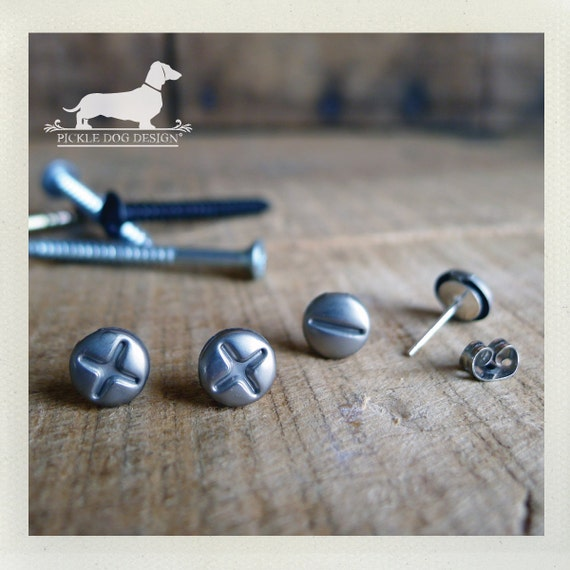 Screwed Up. Post Earrings Set -- (Silver, Phillips Head, Flat Head, Funky, Geeky, Unisex, Gag Gift for Her, Gift for Guys, Fun, Unique)