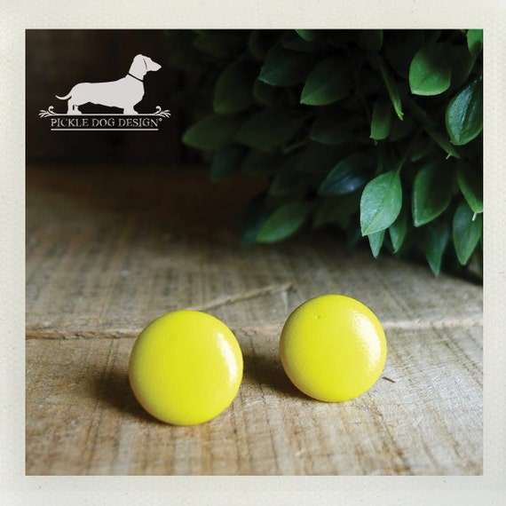 Mello Yello. Post Earrings -- (Springtime, Bold, Yellow, Bright, Funky, Round, Neon, Fun, Sunny, Sunshine, Golden, Gift for Her Under 10)