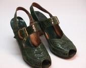 40s green snakeskin heels peep toe sling back size 6
