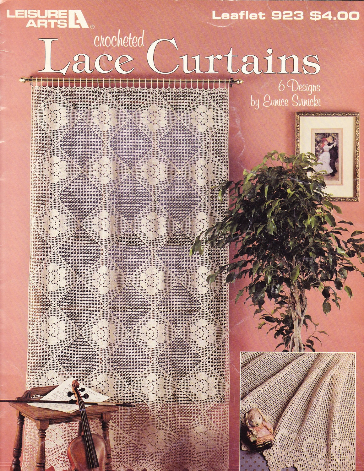 Crochet Lace Book Cover : Crocheted lace curtains pattern book