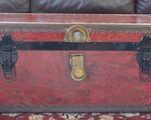 RESERVED FOR LISA -   Red Textured Vintage Trunk with key