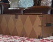Upcycled Vintage Army Footlocker, Hand Painted Harlequin Pattern and  Burlap Lined