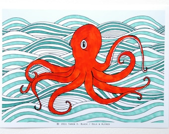 The Orange Octopus - Illustration by: Taren S. Black