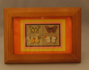 Vintage Framed Postage Stamps - Butterflies - No. 1715a