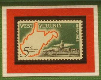 Vintage Framed Postage Stamp - West Virginia - Almost Heaven - No. 1232