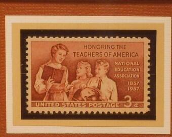 Vintage Framed Postage Stamp - Honoring Teachers -  No. 1093