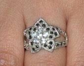 Vintage 925 sterling  flower design aquamarine & marcasite stones ring